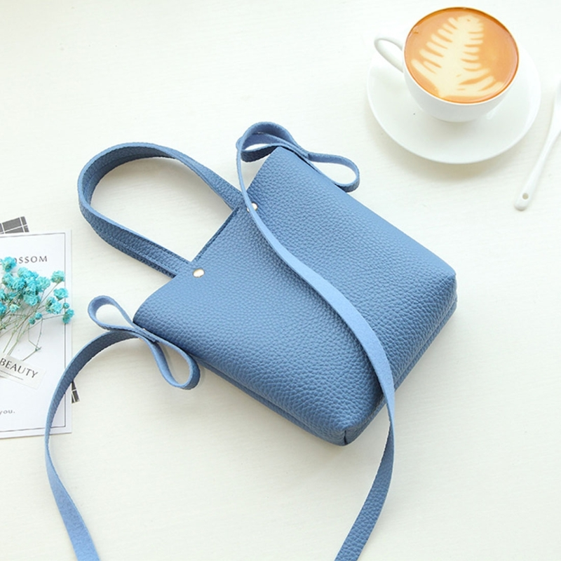 Fashion Mini PU Leisure Single Shoulder Square Handbag Mobile Phone Bag (Blue)