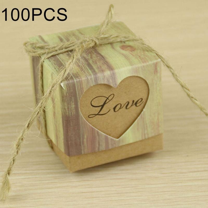 100 PCS Wedding Wood Grain LOVE Heart-shaped Pattern Hollowed-out Kraft Paper Sugar Box
