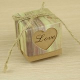 100 PCS Wedding Wood Grain LOVE Heart-shaped Pattern Hollowed-out Kraft Paper Sugar Box