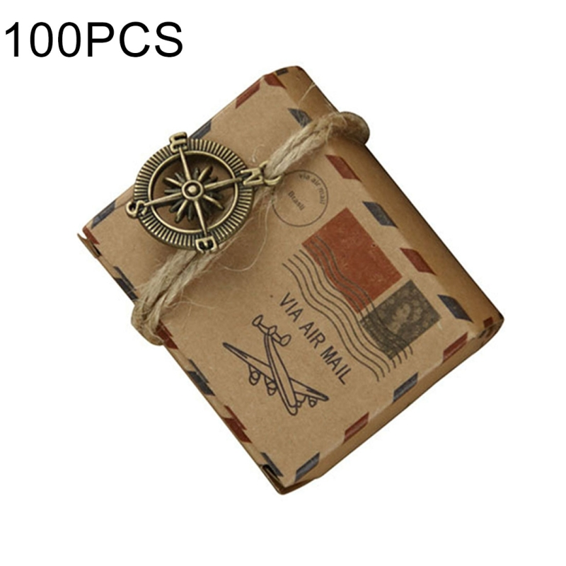 100 PCS European Wedding Retro Kraft Paper A Compass Mail Pattern Sugar Box