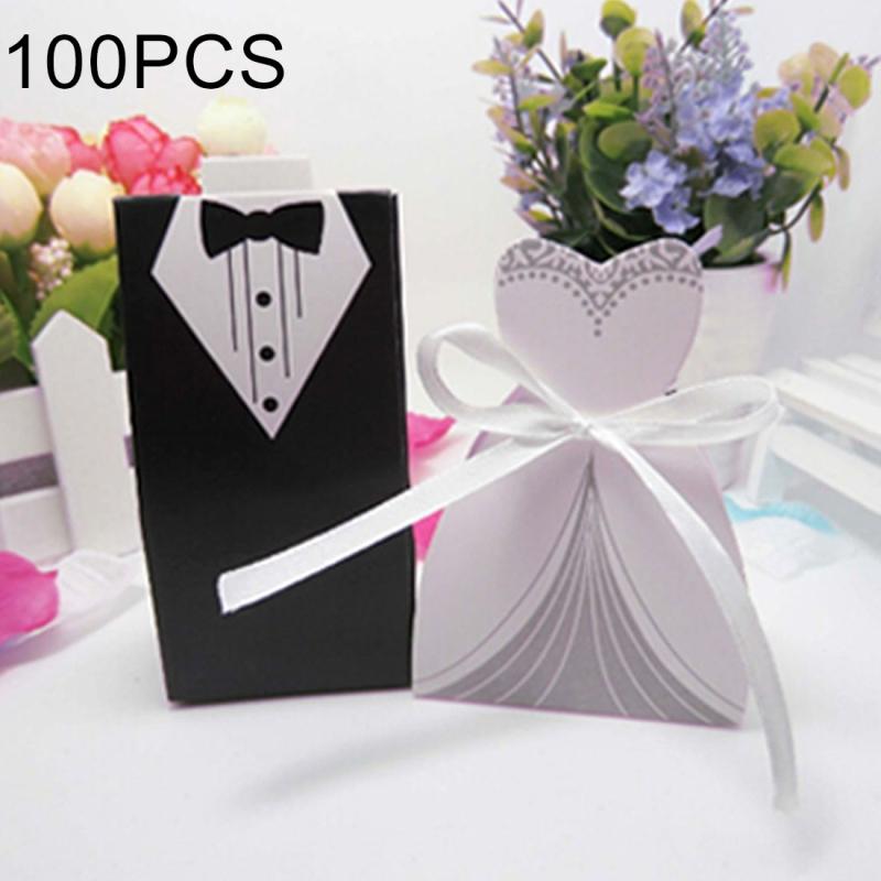 100 PCS Wedding European The Bride and Groom Sugar Box