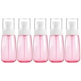5 PCS Travel Plastic Bottles Leak Proof Portable Travel Accessories Small Bottles Containers, 60ml (Pink)