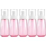5 PCS Travel Plastic Bottles Leak Proof Portable Travel Accessories Small Bottles Containers, 100ml (Pink)