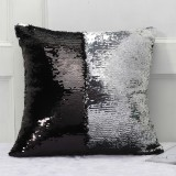 DIY Two Tone Glitter Sequins Throw Pillow Case Reversible Sequin Magical Color Changing Pillow Cover (Black+Silver)