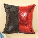 DIY Two Tone Glitter Sequins Throw Pillow Case Reversible Sequin Magical Color Changing Pillow Cover (Black+Red)