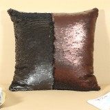 DIY Two Tone Glitter Sequins Throw Pillow Case Reversible Sequin Magical Color Changing Pillow Cover (Coffee+Black)