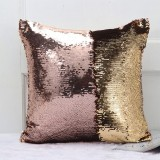 DIY Two Tone Glitter Sequins Throw Pillow Case Reversible Sequin Magical Color Changing Pillow Cover (Champagne+Gold)