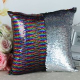 DIY Two Tone Glitter Sequins Throw Pillow Case Reversible Sequin Magical Color Changing Pillow Cover (Colorful+Silver)