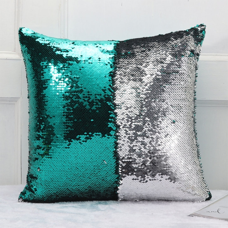 diy two tone glitter sequins throw pillow case reversible sequin magical color changing pillow. Black Bedroom Furniture Sets. Home Design Ideas