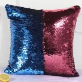 DIY Two Tone Glitter Sequins Throw Pillow Case Reversible Sequin Magical Color Changing Pillow Cover (Blue+Red)