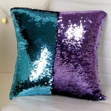 DIY Two Tone Glitter Sequins Throw Pillow Case Reversible Sequin Magical Color Changing Pillow Cover (Blue+Purple)