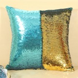 DIY Two Tone Glitter Sequins Throw Pillow Case Reversible Sequin Magical Color Changing Pillow Cover (Blue+Gold)