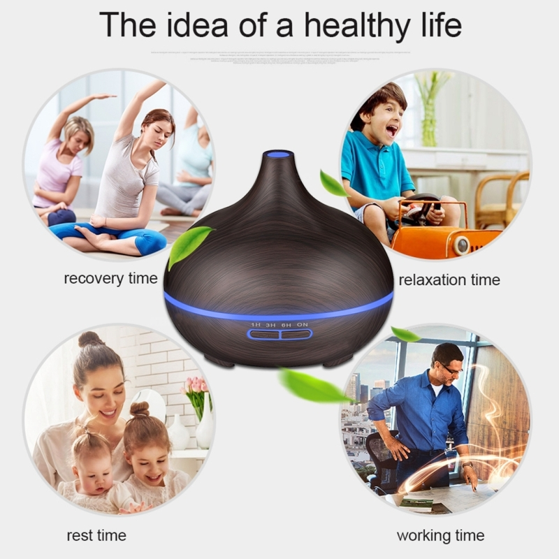 W350 14W 300ML Wood Grain Aromatherapy Air Purifier Humidifier with LED Light for Office / Home Room (Coffee)