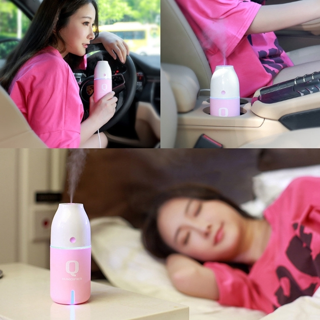 Imycoo WT-8015 2W Portable Mini Q Bottle Design USB Charge Aromatherapy Air Humidifier with LED Colorful Light, Bottle Capacity: 150ml, DC 5V (Pink)
