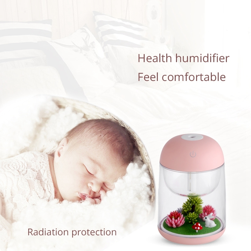 Imycoo WT602 2W Portable Mini Micro Landscape Design USB Charge Aromatherapy Air Humidifier with LED Colorful Light, Water Tank Capacity: 180ml, DC 5V (Pink)