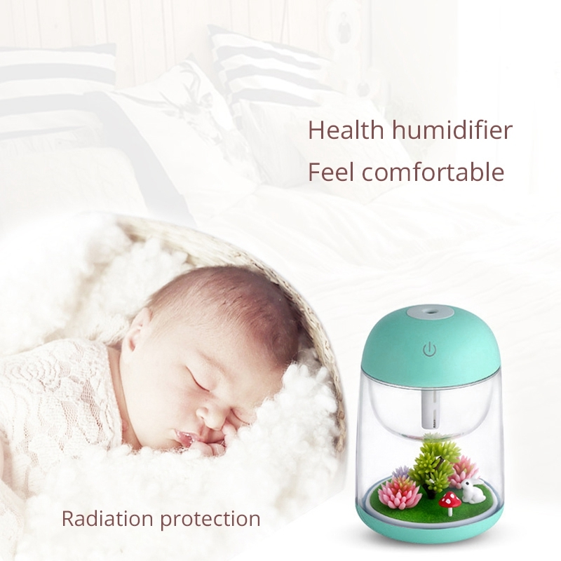 Imycoo WT602 2W Portable Mini Micro Landscape Design USB Charge Aromatherapy Air Humidifier with LED Colorful Light, Water Tank Capacity: 180ml, DC 5V (Green)