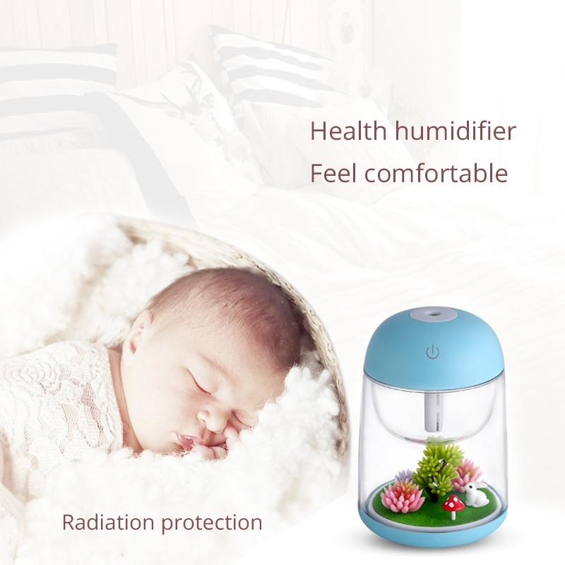 Imycoo WT602 2W Portable Mini Micro Landscape Design USB Charge Aromatherapy Air Humidifier with LED Colorful Light, Water Tank Capacity: 180ml, DC 5V (Blue)