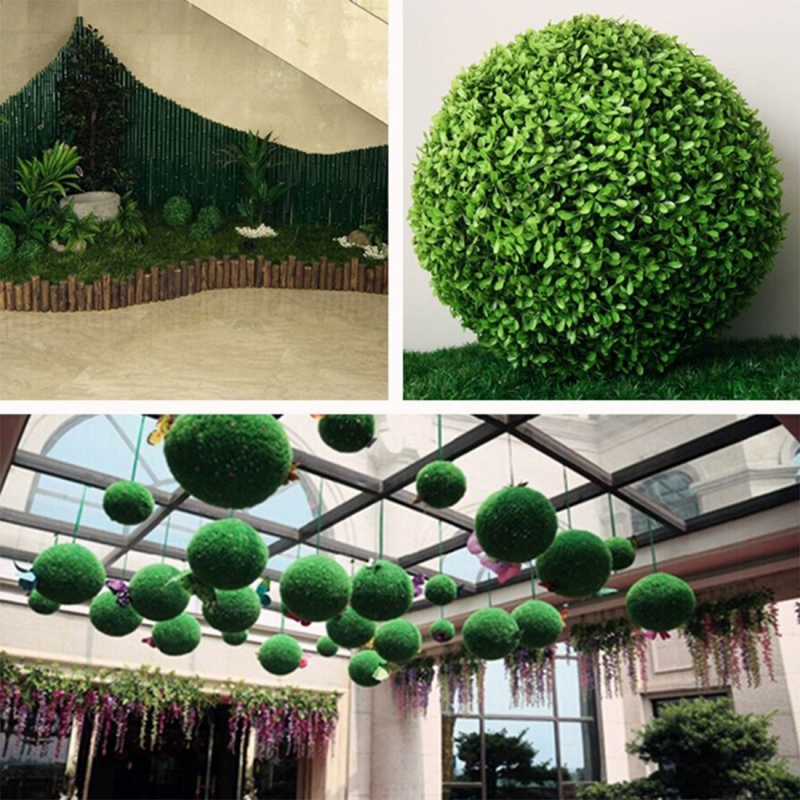 Artificial Aglaia Odorata Plant Ball Topiary Wedding Event Home Outdoor Decoration Hanging Ornament, Diameter: 12.7 inch