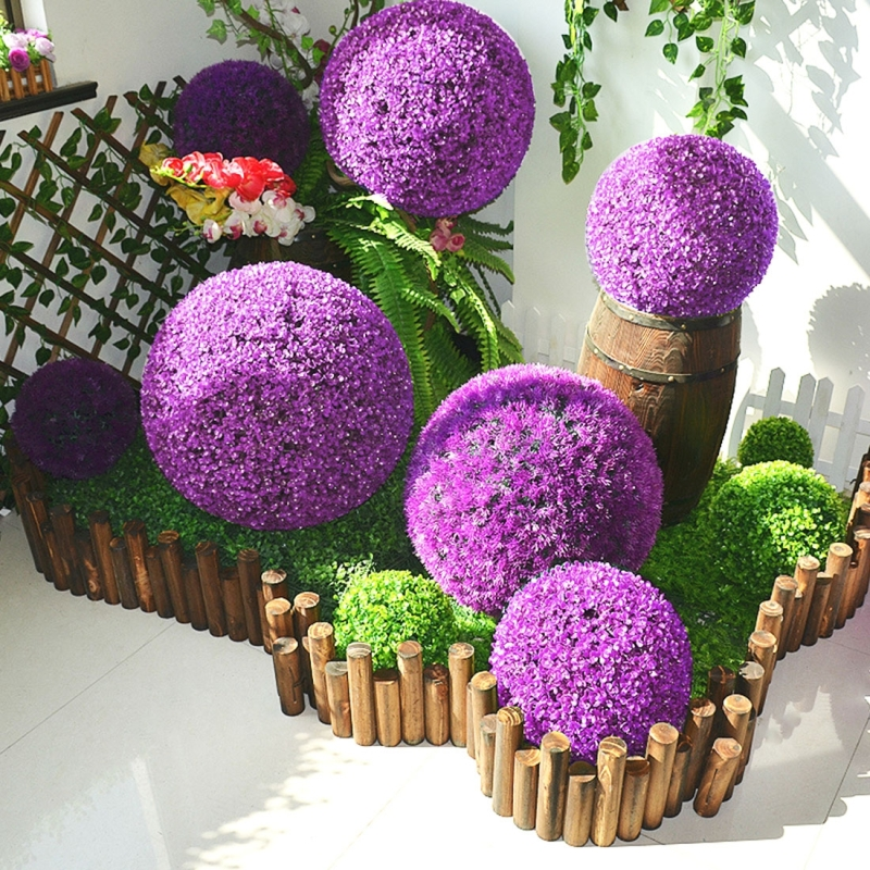 Artificial Purple Eucalyptus Plant Ball Topiary Wedding Event Home Outdoor Decoration Hanging Ornament, Diameter: 13.4 inch