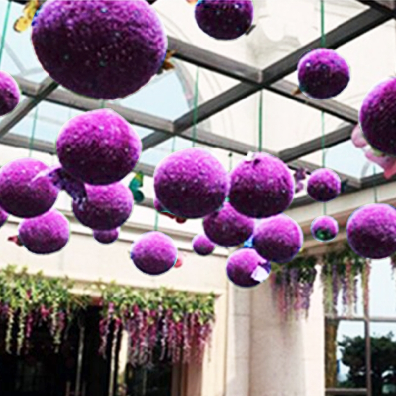 Artificial Purple Eucalyptus Plant Ball Topiary Wedding Event Home Outdoor Decoration Hanging Ornament, Diameter: 15 inch