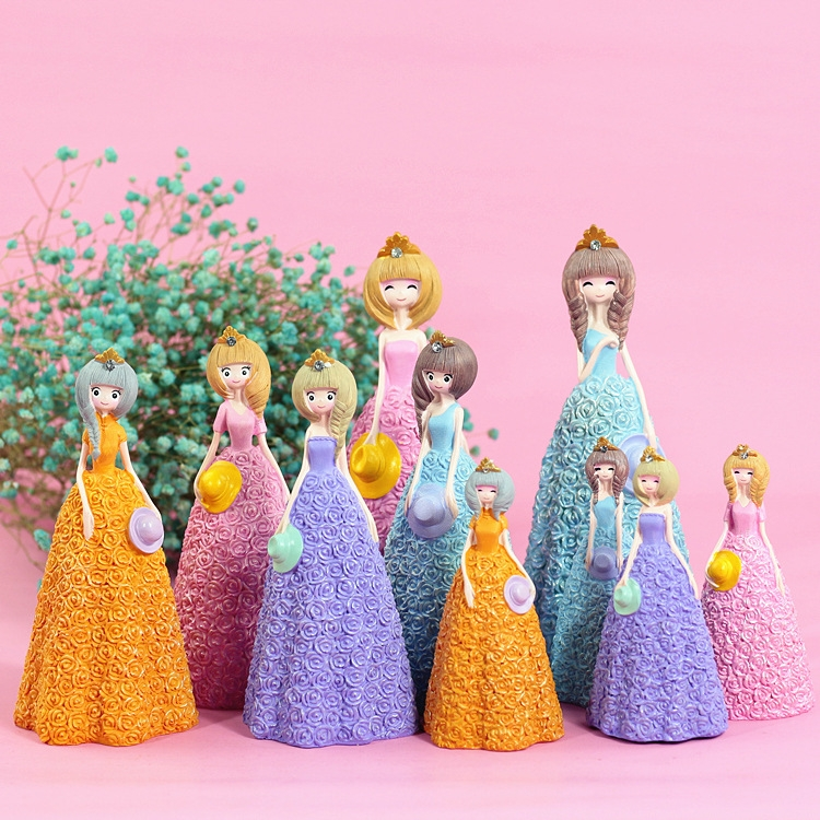 Pretty Skirt Girl Style Resin Crafts Ornaments Room Decoration (Blue)