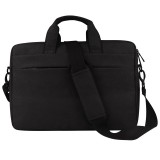 Breathable Wear-resistant Thin and Light Fashion Shoulder Handheld Zipper Laptop Bag with Shoulder Strap, For 13.3 inch and Below Macbook, Samsung, Lenovo, Sony, DELL Alienware, CHUWI, ASUS, HP (Black)