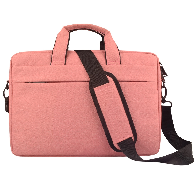 Breathable Wear-resistant Thin and Light Fashion Shoulder Handheld Zipper Laptop Bag with Shoulder Strap, For 14.0 inch and Below Macbook, Samsung, Lenovo, Sony, DELL Alienware, CHUWI, ASUS, HP (Pink)