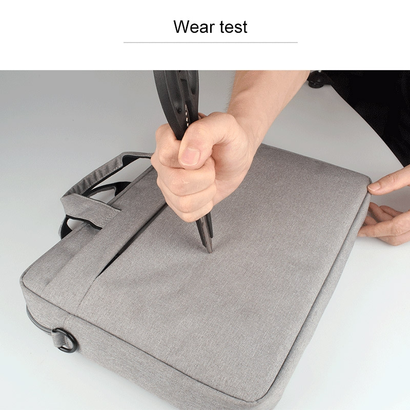 Breathable Wear-resistant Thin and Light Fashion Shoulder Handheld Zipper Laptop Bag with Shoulder Strap, For 14.0 inch and Below Macbook, Samsung, Lenovo, Sony, DELL Alienware, CHUWI, ASUS, HP (Grey)