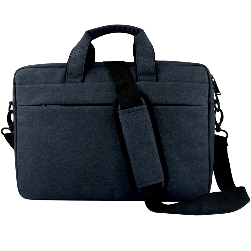 Breathable Wear-resistant Thin and Light Fashion Shoulder Handheld Zipper Laptop Bag with Shoulder Strap, For 14.0 inch and Below Macbook, Samsung, Lenovo, Sony, DELL Alienware, CHUWI, ASUS, HP (Navy Blue)