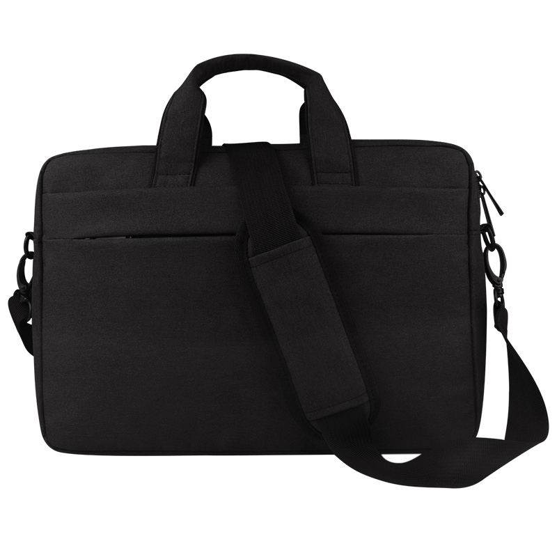 Breathable Wear-resistant Thin and Light Fashion Shoulder Handheld Zipper Laptop Bag with Shoulder Strap, For 15.6 inch and Below Macbook, Samsung, Lenovo, Sony, DELL Alienware, CHUWI, ASUS, HP (Black)