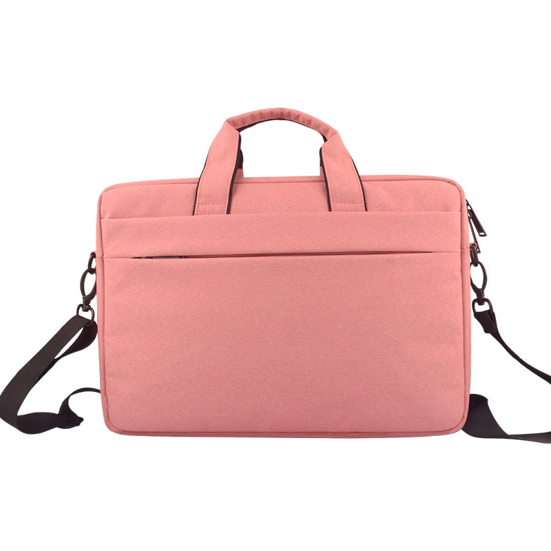 Breathable Wear-resistant Thin and Light Fashion Shoulder Handheld Zipper Laptop Bag with Shoulder Strap, For 15.6 inch and Below Macbook, Samsung, Lenovo, Sony, DELL Alienware, CHUWI, ASUS, HP (Pink)
