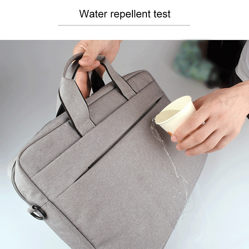 Breathable Wear-resistant Thin and Light Fashion Shoulder Handheld Zipper Laptop Bag with Shoulder Strap, For 15.6 inch and Below Macbook, Samsung, Lenovo, Sony, DELL Alienware, CHUWI, ASUS, HP (Grey)