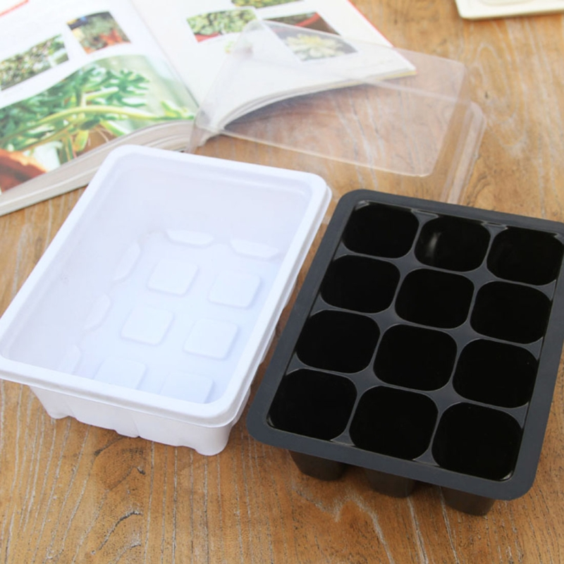 5 PCS Seedling Tray Sprout Plate 12 Holes Nursery Pots Tray Lids Box For Gardening Bonsai Mini Greenhouse Nursery Plate (White)