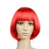 Party Cosplay Headwear Straight Short PET Wigs For Female (Red)