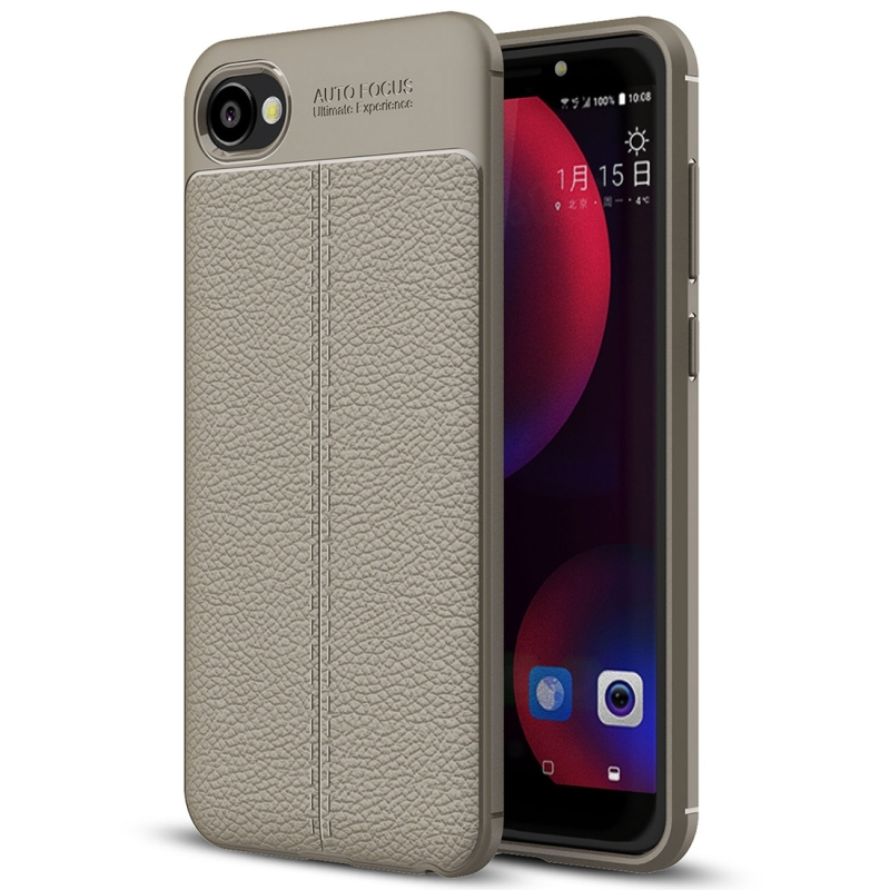 new product 4624f a286b For HTC Desire 12 Litchi Texture Soft TPU Protective Back Cover Case (Grey)