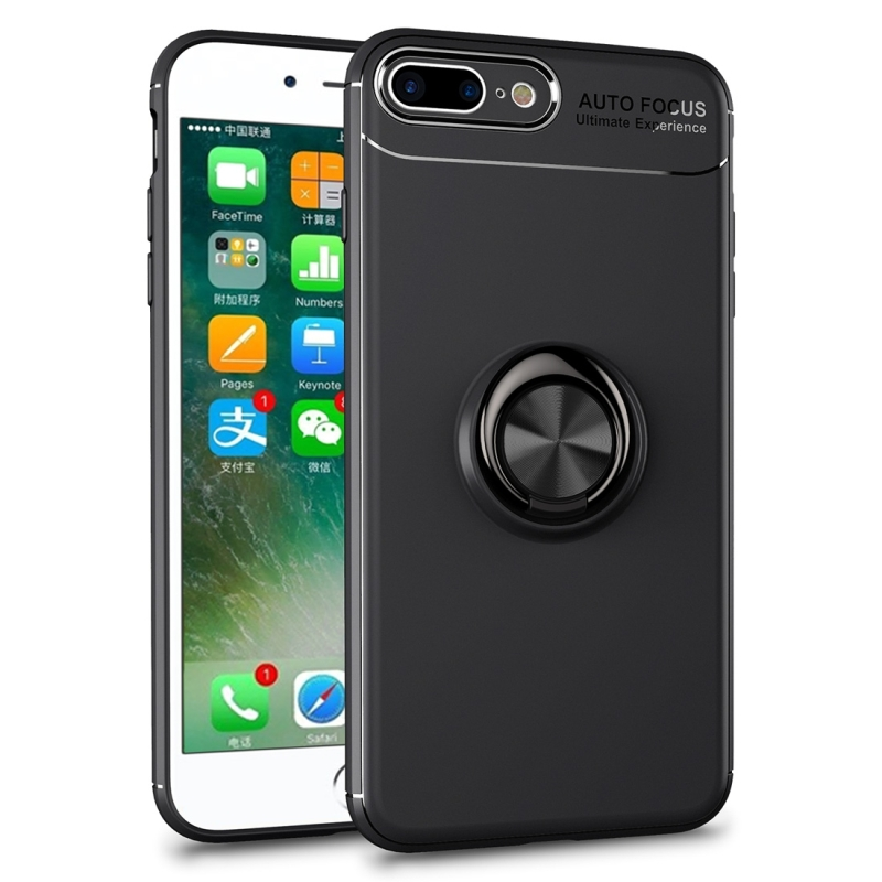 huge discount 03f35 40600 Metal Ring Holder 360 Degree Rotating TPU Case for iPhone 8 Plus & 7 Plus  (Black)