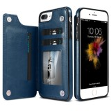 FLOVEME for iPhone 8 Plus & 7 Plus Crazy Horse Texture Horizontal Flip Leather Protective Case with Card Slots & Holder (Dark Blue)
