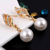 Set Jewelry (1 Pair Earrings and 1 PCS Necklace Included) Chic Pearl and Rhinestone Pendant Necklace and Earings (Gold)