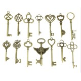 Mixed Set Of Vintage Skeleton Keys In Antique Bronze Of Different Size As Ornamental Decorations For Party Favors, Necklaces, Arts And Crafts (Bronze Set of 100 PCS)