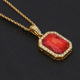 Hip Hop Mini Rhinestone Colorful Pendant Twist Necklace for Men (Gold and Red)