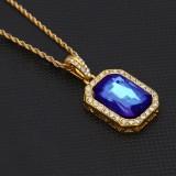 Hip Hop Mini Rhinestone Colorful Pendant Twist Necklace for Men (Gold and Blue)