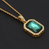 Hip Hop Mini Rhinestone Colorful Pendant Twist Necklace for Men (Gold and Green)