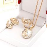 3 PCS Women Beautiful Peacock Crystal-like Necklace Ring Earrings Jewelry Set