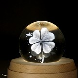 3D Word Engraving Crystal Ball Clover Pattern Electronic Swivel Musical Birthday Gift Home Decor without Music