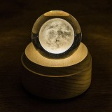 3D Word Engraving Crystal Ball Moon Pattern Electronic Swivel Musical Birthday Gift Home Decor without Music