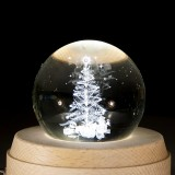 3D Word Engraving Crystal Ball Christmas Tree Pattern Electronic Swivel Musical Birthday Gift Home Decor without Music