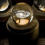 3D Word Engraving Crystal Ball Milky Way Pattern Electronic Swivel Musical Birthday Gift Home Decor without Music