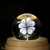 3D Word Engraving Crystal Ball Music Box Clover Pattern Electronic Swivel Musical Birthday Gift Home Decor with Music
