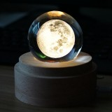 3D Word Engraving Crystal Ball Music Box Moon Pattern Electronic Swivel Musical Birthday Gift Home Decor with Music