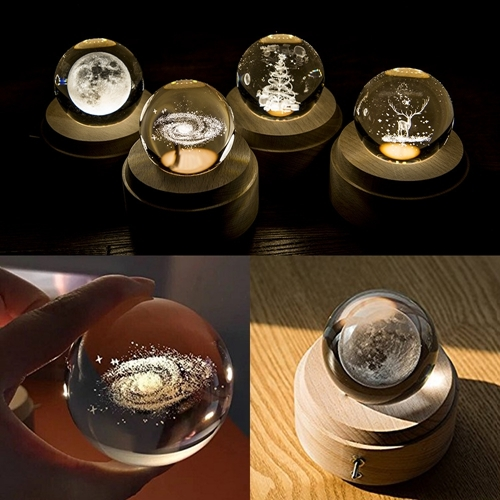 3D Word Engraving Crystal Ball Music Box Christmas Deer Pattern Electronic Swivel Musical Birthday Gift Home Decor with Music